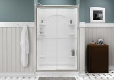 Completely transform your shower space with this STERLING Finesse Frameless Sliding Shower Door in Nickel with Smooth or Clear Glass Texture. Bathtub Doors, Bathtub Walls, Frameless Sliding Shower Doors, Glass Shower Doors, Sterling Shower, Tall Cabinet Storage, Locker Storage, Shower Wall Panels, Curved Walls