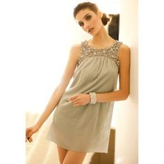 $15.04 Women's Chiffon Dress With Scoop Neck Sleeveless Sequin and Ruffle Design