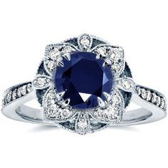 Antique Floral Sapphire and Diamond Engagement Ring 1 1/2 Carat (ctw)... (£1,310) ❤ liked on Polyvore featuring jewelry, rings, accessories, anel, round cut engagement rings, vintage engagement rings, sapphire diamond ring, vintage sapphire ring and engagement rings