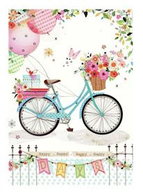 Happy Days by Lynn Horrabin birthday, transportation, bike, bicycle Birthday Wishes, Birthday Cards, Illustration Blume, Buch Design, Bicycle Art, Decoupage Paper, Balloons, Shabby Chic, Card Making
