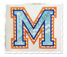 Double Applique Varsity (Style 2) Machine Embroidery Alphabet Font