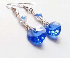 Dangly Swarovski Elements Sapphire Blue Heart Earrings by Twinkle Planet https://www.etsy.com/uk/listing/164750663/dangly-swarovski-elements-sapphire-blue?ref=teams_post