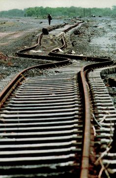 Twisted tracks at Lázaro Cárdenas on Mexico's Pacific after an earthquake, 1986