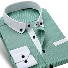 Men's England Style Plaid Dress Shirt - TrendSettingFashions - 1