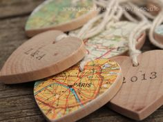 A lovely little chunky wooden heart with a vintage map of your special place on one side, which can be personalised with up to 5 characters on the other side in hand-printed old typewriter lettering. By Painted with Love
