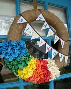 Birthday Wreath - hang on the front door during the week of each family members birthday!