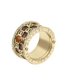 Michael Kors Monogram-Cutout Tortoise Ring