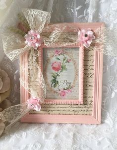 Beautiful pink painted frame with lace ribbon bow & rhinestones on  pink roses ~ by FannyPippin (Etsy) $34