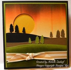 Pine Hills Card created by Michelle Zindorf using Stampin' Up! here's a non-Christmas idea for you. Halloween Cards, Fall Halloween, Stampin Up Christmas, Christmas Cards, Jingle All The Way, Stamping Up Cards, Thanksgiving Cards, Fall Cards, Card Sketches