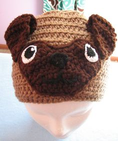 Adult Size Pug Crochet Hat Ready To Ship by DonnasCrochetDesigns