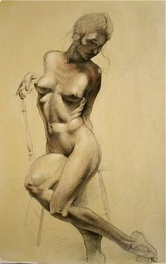 © 2009 Aron Hart, Mastercopy after Robert Liberace, Conte Crayon on toned paper, 14 x 20 inches