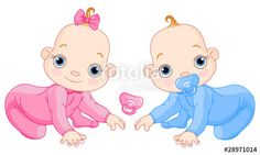"""Download the royalty-free vector """"Cute creeping twins"""" designed by Anna Velichkovsky at the lowest price on Fotolia.com. Browse our cheap image bank online to find the perfect stock vector for your marketing projects!"""