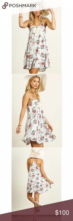 Floral Sundress NO TRADES | FIRM PRICE   White a-line floral print dress. Crochet bust detail. Cotton blend. Model is 5'8 & wearing a size small. JV Boutique Dresses