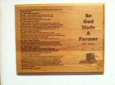 So God Made A Farmer Paul Harvey Plaque 12 by by EtchingMemories, $49.99
