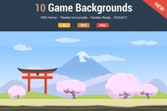 10 Fresh Game Backgrounds by Flat Icons on Creative Market