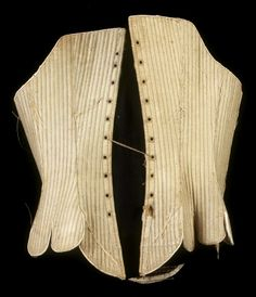 Woman's Stays (back), Pocumtuck Valley Memorial Association  date   1765-1775 process/materials   wool, linen item type   Personal Items/Clothing - Underwear accession #   #1880.015.01  Satin weave ecru wool with blue checked linen lining. Edges are bound with white leather. 12 sections, fully boned.