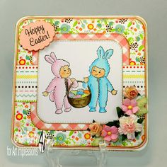 Art Impressions Rubber Stamps: Ai Easter: Basket Bunnies (Sku#Q4021) ...handmade card. bunny,flowers