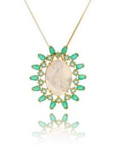 colar nossa senhora com madreperola e zirconias verdes semi joias religiosas online