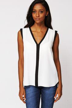 White V Neck Sleeveless Blouse - Ex-Branded