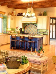 Green and black tile backsplash similar to 1920's California Spanish Revival updated casa style.