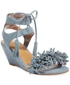 Material Girl Haniya Fringe Wedge Sandals, Only at Macy's