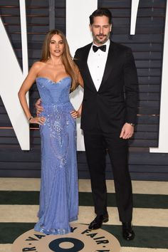 Sofia Vergara and Joe Manganiello attend 2015 Vanity Fair Oscar Party hosted by Graydon Carter at Wallis Annenberg Center for the Performing Arts on Feb. 22, 2015, in Beverly Hills, California. Sofia is wearing Zuhair Murad.