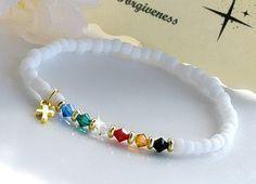 Salvation Bracelet/Stretchable White Matte by HeartofGems on Etsy