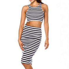 Stripe+two+piece+crop+top+and+midi+skirt+set.+Made+from+96%+Polyester+and+4%+Spandex. Note:+Runs+small,+order+one+size+up.
