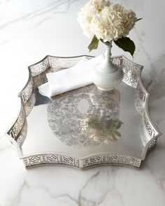 Scalloped-Edge Metal Tray at Horchow.