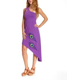 Another great find on #zulily! Purple Orchid Peacock Bianca Organic Dress - Women #zulilyfinds