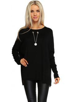 Laetitia Mem Diamonte Ball Necklace Black Oversized Jumper