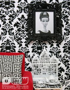 If It's Hip, It's Here: Michael Loves Jonathan Adler And They Both Love Barbie. Barbie Furniture Tutorial, Diy Barbie Furniture, Diy Furniture, Ooak Dolls, Blythe Dolls, Barbie Dolls, Barbie Stuff, Black And White Living Room, Black White