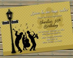 7 best party invitations images on pinterest mardi gras party new orleans jazz trio lamp post fleur de lis invitations with envelopes gold and cream or silver and gray stopboris Choice Image