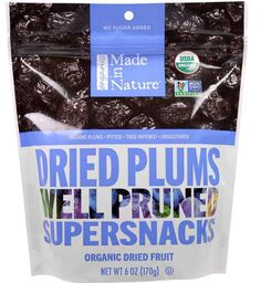 Made in Nature Natural Organic Dried Plums Well Pruned Supersnacks 6 oz (170 g) #madeinnature