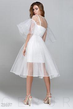 Gepur | Воздушное праздничное платье арт. 25697 Цена от производителя, достоверные описание, отзывы, фото ,Цвет:белый