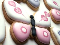 Butterfly cookies. I like the marbled hearts on the top wings.