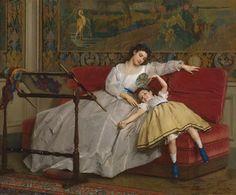 Il lavoro di un uomo è dall'alba al tramonto, il lavoro di una madre non finisce mai. (Anonimo) ✧Gustave Leonard de Jonghe (1829-1893)✧