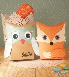 How to make two Pillow Boxes with Owl & Fox Sizzix Die set for Back to School