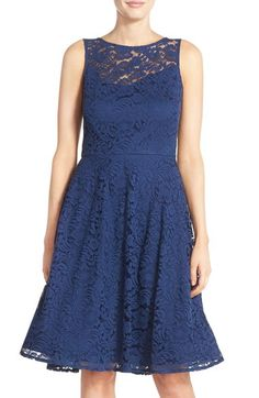 Chetta B Illusion Yoke Lace Fit & Flare Dress available at #Nordstrom