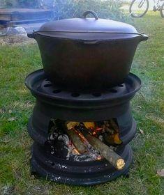 grill og bålsted lavet ud af gamle stålfælge - ide til haven