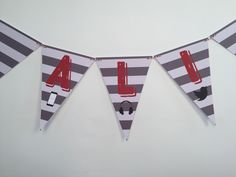 Grey & White Stripe Birthday Bunting, Grey And White, Cards, Playing Cards, Maps