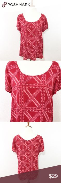 """LUCKY BRAND Peter Dunham 100% silk size Large Details: beautiful print red silk top  Size: L Material: in photos  Condition: EUC no flaws  Measurements are taken flat! Chest:   20.5"""" armpit to armpit)  Length:   24.5"""" from shoulder)  ☑️ Bundle Discounts  ☑️Fast shipping  ☑️Posh Ambassador  ✨Shop with Confidence Lucky Brand Tops Blouses"""