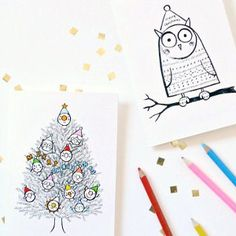 Fill in the Color Christmas Cards are fantastic paper crafts for Christmas. These free printable Christmas cards are fabulous kids Christmas crafts.