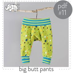 Sewing pattern pdf for baby and toddler big butt pants -Easy photo tutorial!  You will need:   Knit fabric for legs and gussets. I like cotton/lycra jersey with good stretch.  -- .5 yards of fabric for sizes Preemie to 12-18M --------.75 yards of fabric for sizes 18-24M to 5-6T   Knit fabric for waistband and cuffs. Rib knit or another stable, stretchy knit. ----.5 yards for all sizes  -Serger If you dont have a serger you can substitute all serged seams by using a small zig-zag stitch…