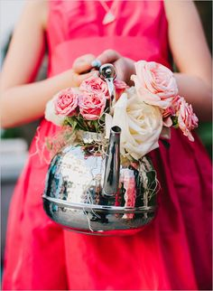 Teapot for a flower girl basket, awesome idea!
