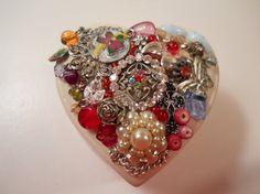 Jeweled Heart Ring Box Jeweled Trinket Box by ChaostoChrist