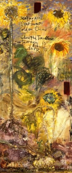 """Joan Snyder, """"Ah Sunflower"""" 1994-95   oil, acrylic, paper mache, cheesecloth, and herbs canvas (w/ 4"""" wooden shelf)  74"""" x 111"""""""