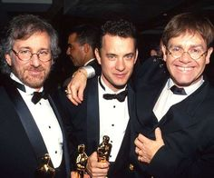 Steven Spielberg and Tom Hanks attended Elton John's Oscar party in 1993. Tom took home his statue f... - Getty
