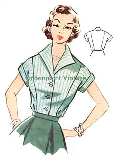 Vintage 1950s Blouse by EmbonpointVintage, $7.80. Pattern 100 Jennifer: A 1950s blouse with a high pointed collar, short raglan sleeves with cuffs, decorative seams, a fitted waist and button closure