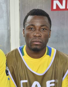 Benjamin Ze Ondo of Gabon /during the 2015 Africa Cup of Nations football match between Burkina Faso v Gabon at Bata Stadium in Bata, Equatorial Guinea on 17 January 2015 ©Barry Aldworth/BackpagePix